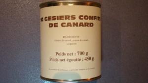 10 gésiers confits de Canard - 450g